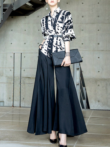 Elegant Printed Work Top With Pants Set