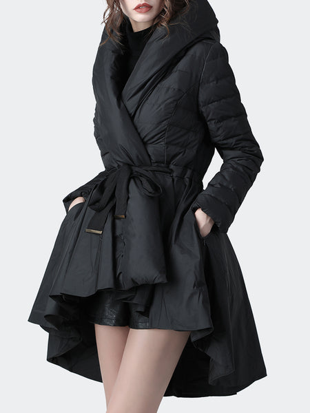 Black Ruffled Hoodie Casual Down Coat
