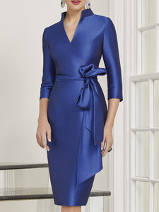 V neck Sheath Elegant Midi Dress