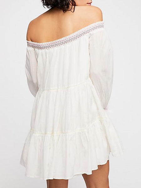 Embroidered Floral Ruched Holiday Mini Dress