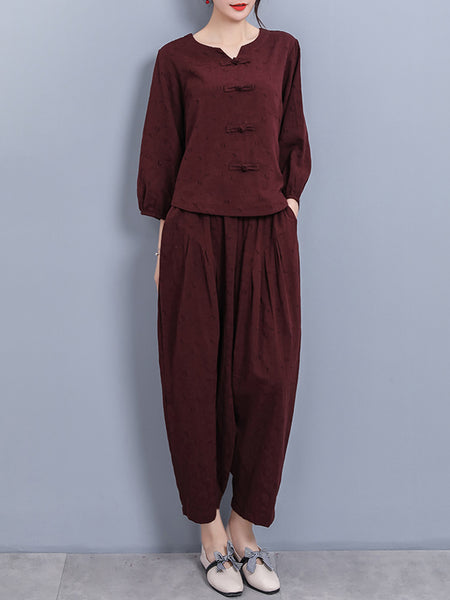 Balloon Sleeve Shift Casual Linen Set