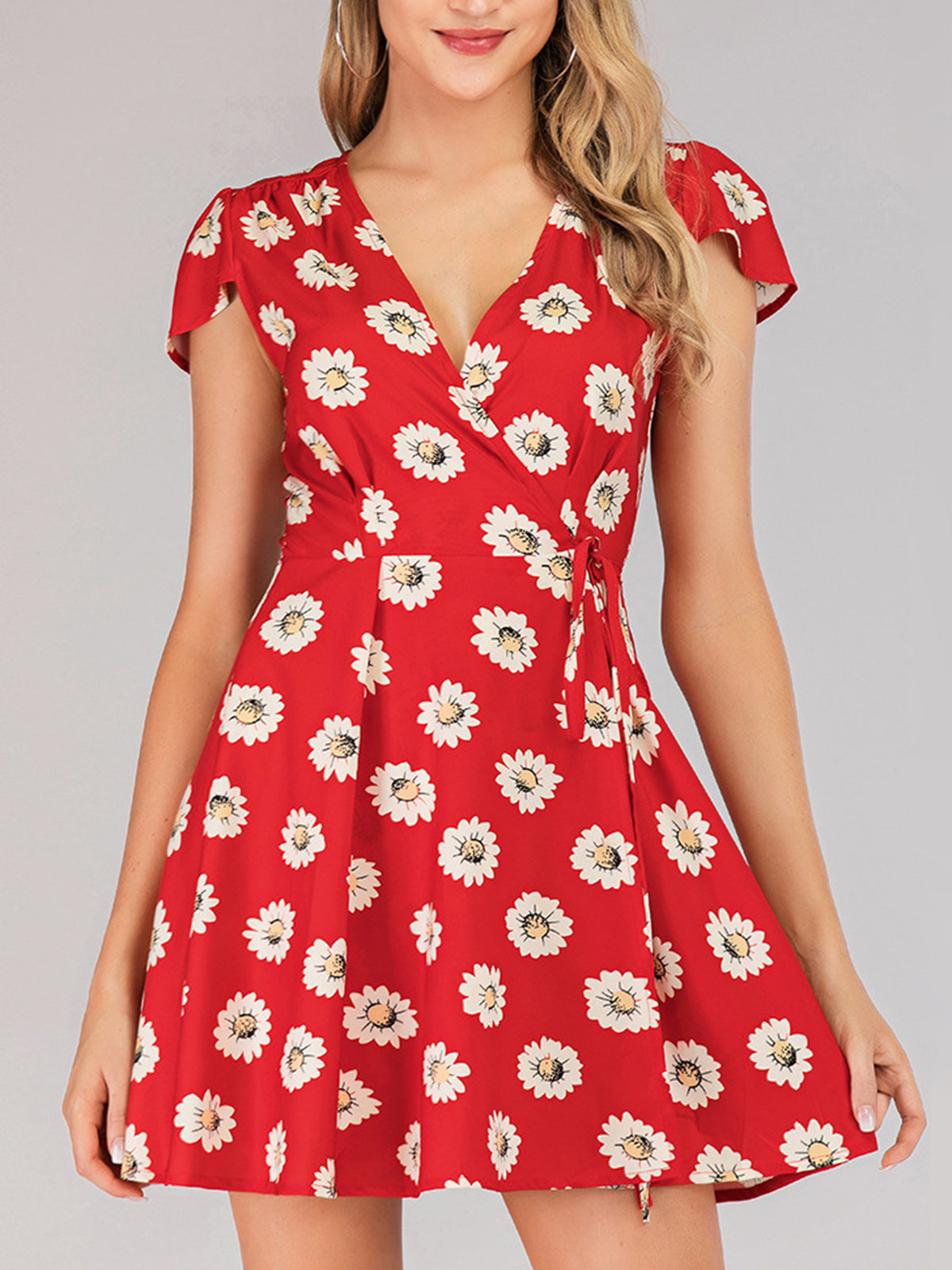 Red Surplice Neck Short Sleeve Dresses