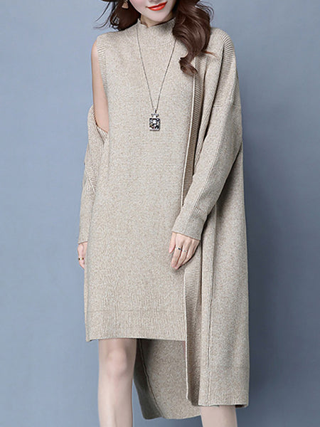 Two Piece Knitted Dress With Coat Two-Piece Set