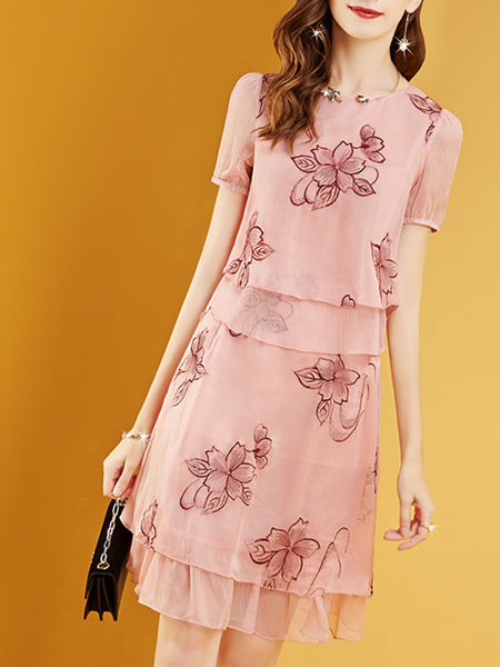 Pink Crew Neck Floral Printed Casual Daytime Top With Skirt Two-Piece Set