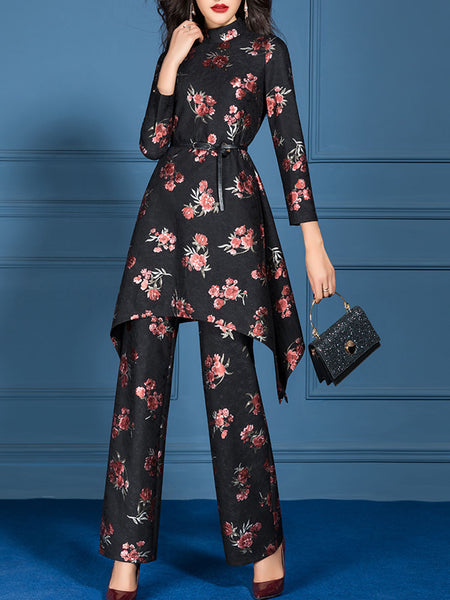 Casual Printed Floral Daily Top With Pants Pants Set