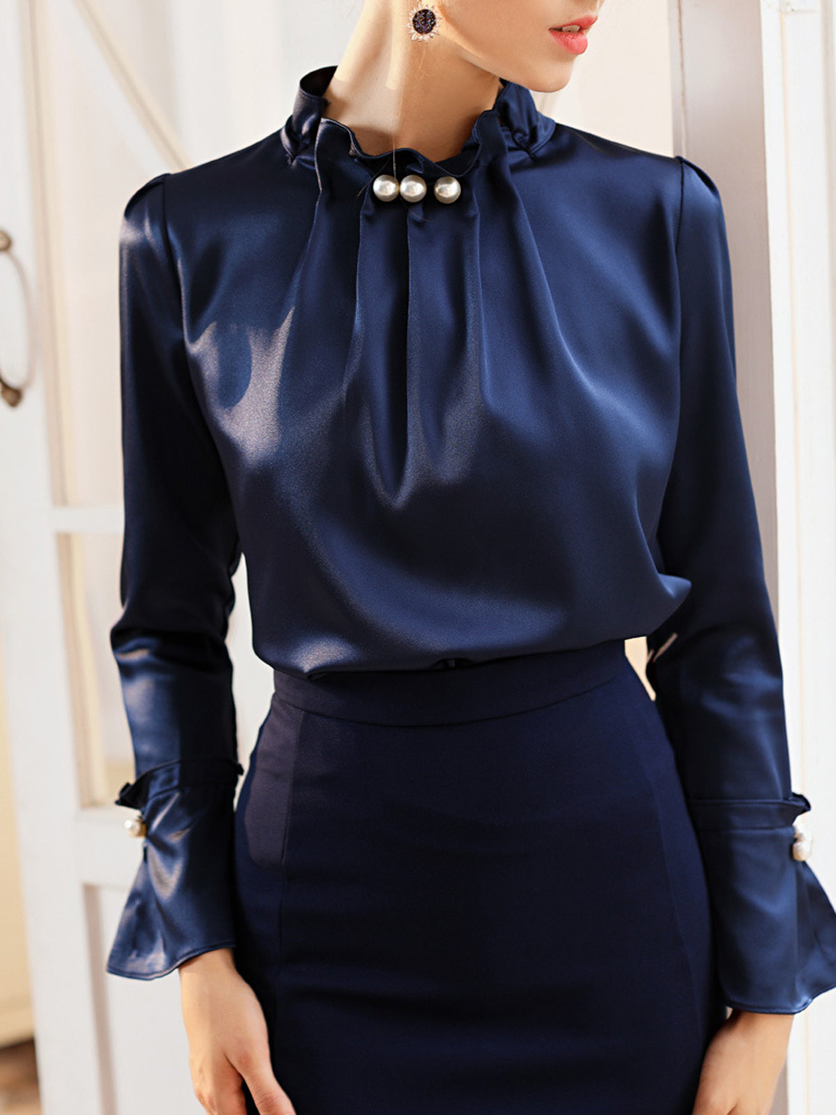 Dark Blue Long Sleeve Beaded Solid Elegant Blouse