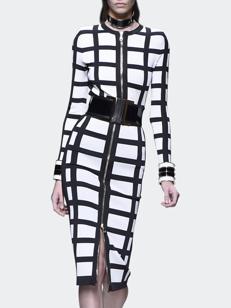 Plaid Long Sleeve Bodycon Work Midi Dress