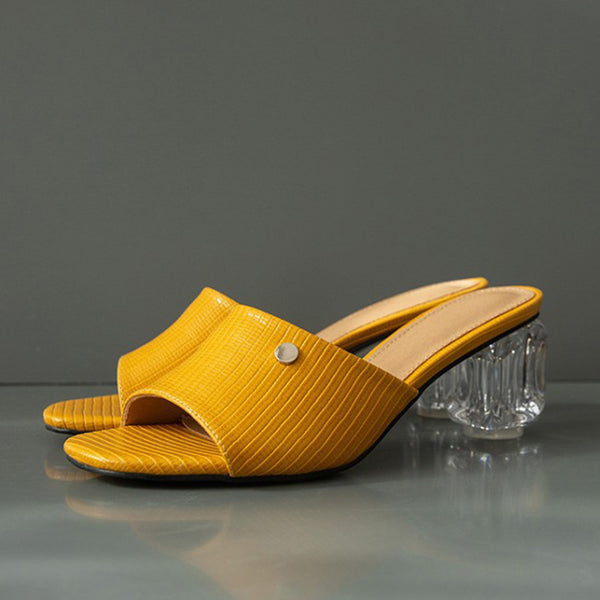 Yellow Chunky Heel Summer Holiday Slippers