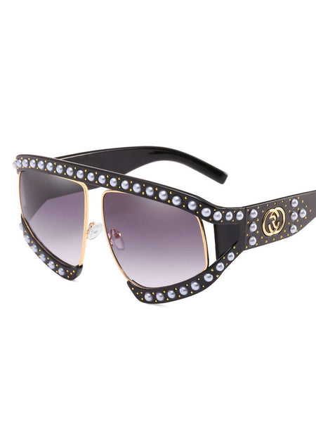 Summer Alloy Imitation Pearls Elegant Statement Women Sunglasses