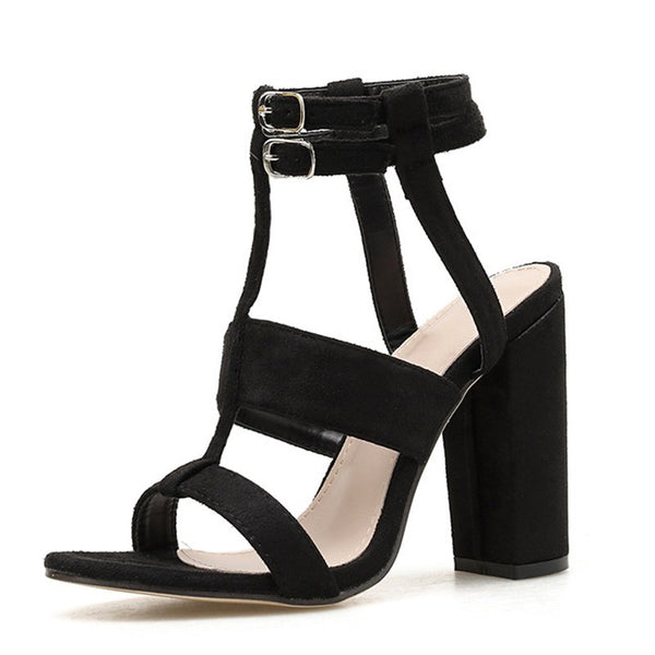 Black Summer Buckle Holiday Sandals