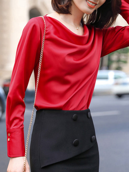 Ruched Sheath Daily Work Elegant Blouse