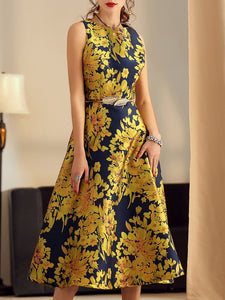 Printed Floral A-line Elegant Midi Dress