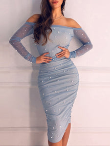 Beaded Ruched Sheath Elegant Midi Dress