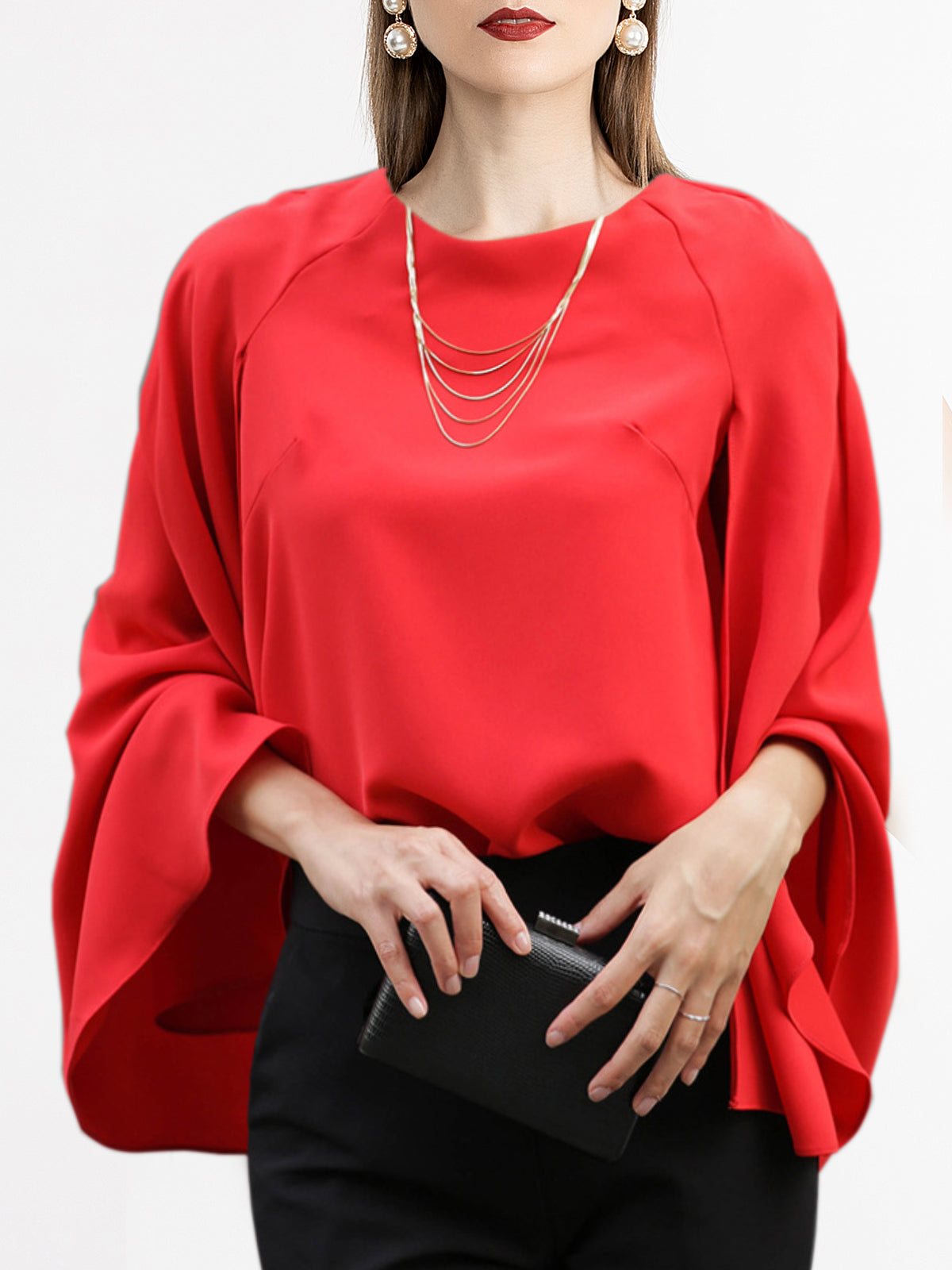 Red Shift Cape Sleeve Elegant Top