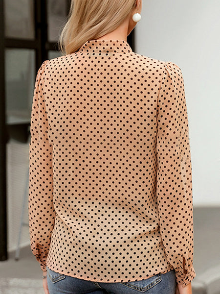 Bow Tie-Neck Polka Dots Sweet Blouse