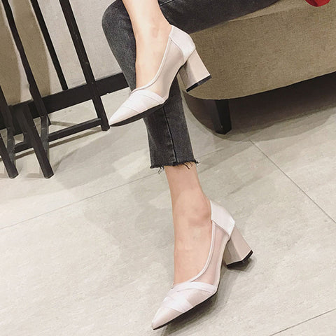 Mesh Chunky Heel Pointed Toe Sandals