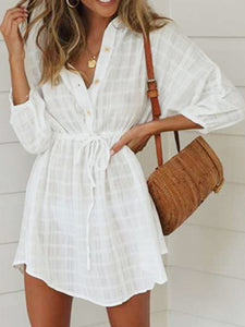 Drawstring Shift Holiday Linen Dress