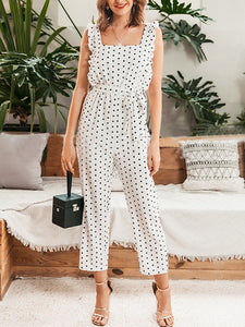 White Chiffon Sleeveless Spaghetti Casual One-Pieces With Belt