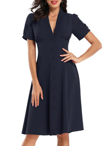 Gathered A-line Elegant Midi Dress