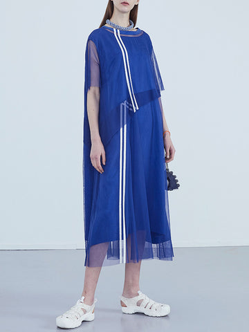 Color-Block Mesh Casual Midi Dress