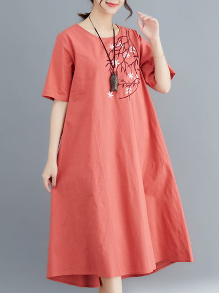 Embroidered Holiday Linen Dress