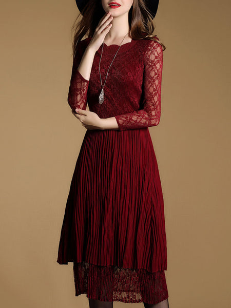 Guipure Lace Paneled Pleated Elegant Sun Dress