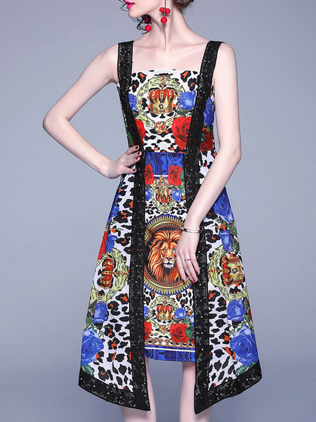 Guipure Lace Paneled Printed Vintage Midi Dress