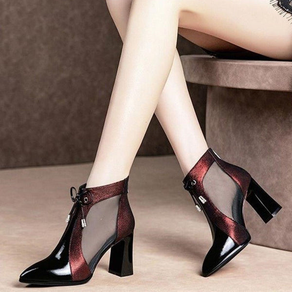 Split Joint Zipper Chunky Heel Casual Boots