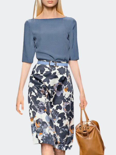 Printed Graphic Elegant Top with Skirt Set