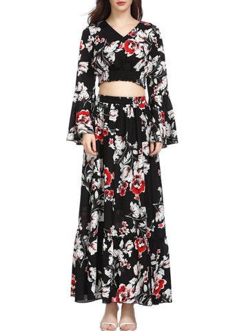 Printed Floral Elegant Top with Skirt Set