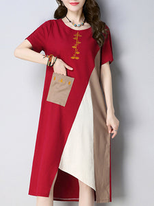Color-block Embroidered Casual Linen Dress