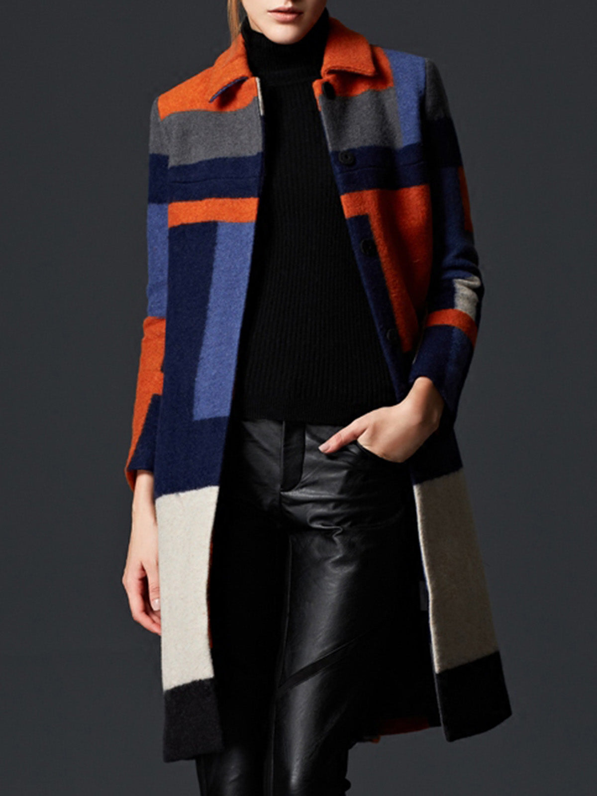 Multicolor Color-Block Shirt Collar Abstract Casual Coat