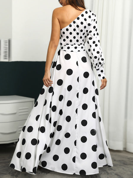 Polka Dots A-Line Prom Elegant Maxi Dress