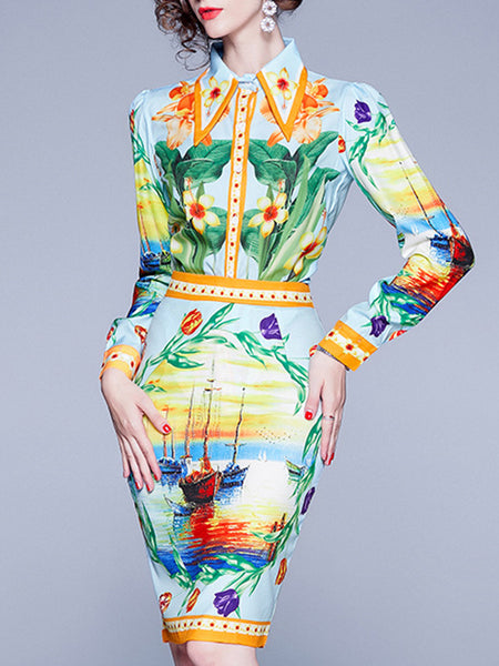 Graphic Printed Sheath Elegant Top with Skirt Set