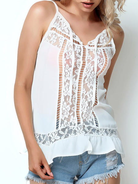 White Casual Spaghetti Paneled Shirts & Tops