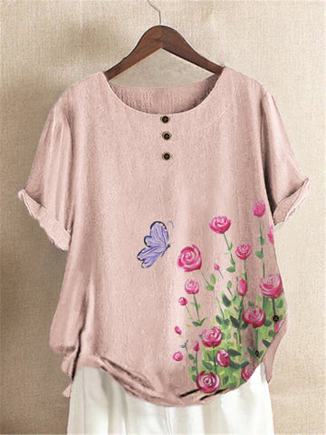 Pink Floral-Print Floral Sweet Shirts & Tops