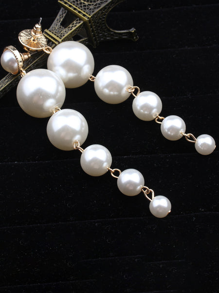 Pearl White Alloy Casual Earrings
