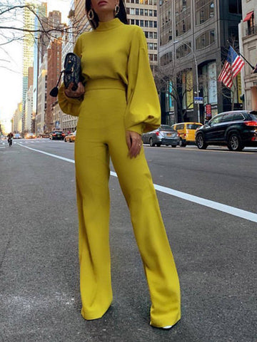 Balloon Sleeve Solid Jumpsuit