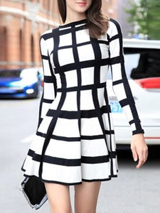 A-Line Checkered Date Elegant Midi Dress