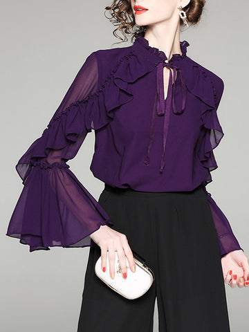Purple Solid Elegant Ruffled Blouse
