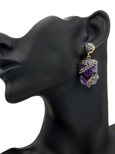 Purple Rhinestone Crystal Elegant Alloy Earrings