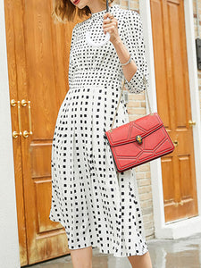 Stand Collar White Dresses Daily Casual Polka Dots Dresses