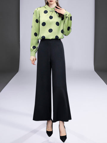 Polka Dots Elegant Top with Pants Set