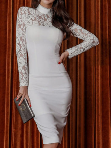 Guipure Lace Paneled Elegant Midi Dress