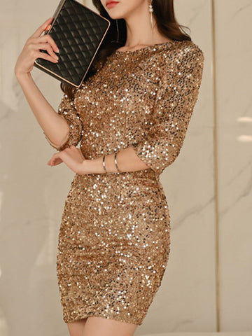 Shimmer Sheath Elegant Midi Dress