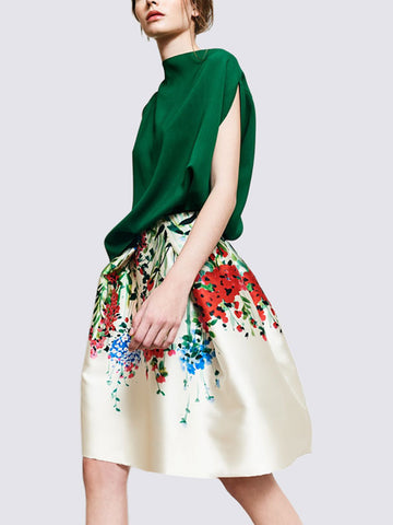 Green Floral Elegant Sleeveless Top With Skirt Two-Piece Set
