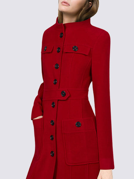 Red Elegant Stand Collar Work Coat