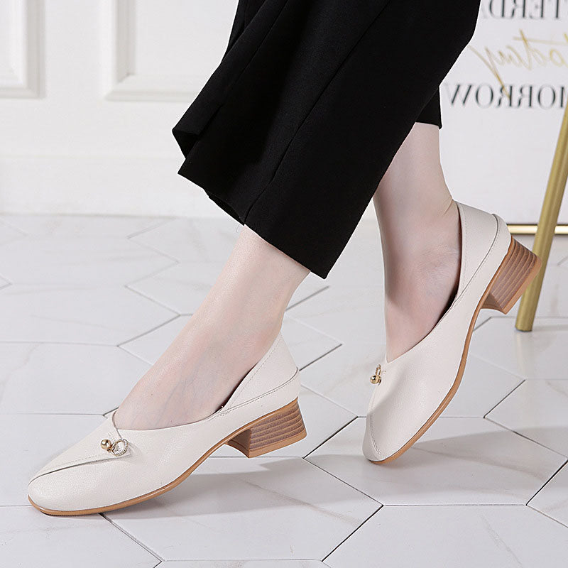 Chunky Heel Square Toe Elegant Pumps