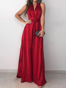 Lace-up Stripes A-Line Prom Elegant Maxi Dress