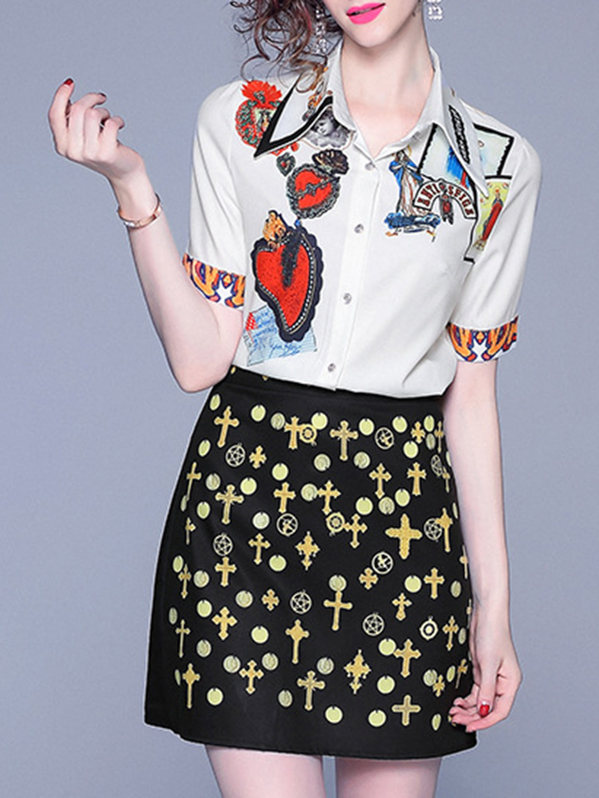 Graphic Printed Elegant Top with Skirt Set